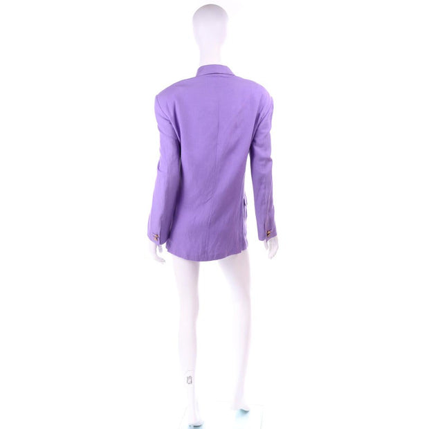 S/S 1993 Gianni Versace Purple Linen & Silk Mens Blazer Jacket