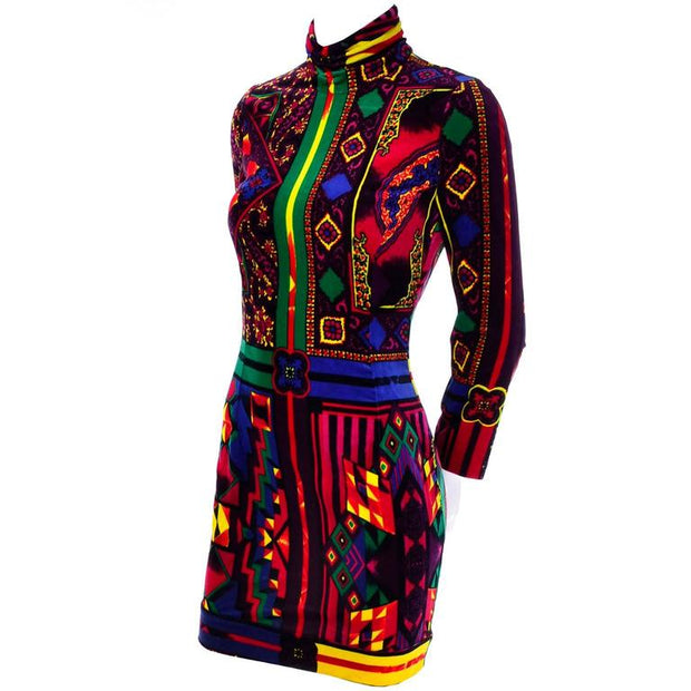 Vintage Versace High Neck Long Sleeve Velvet Bodycon Dress