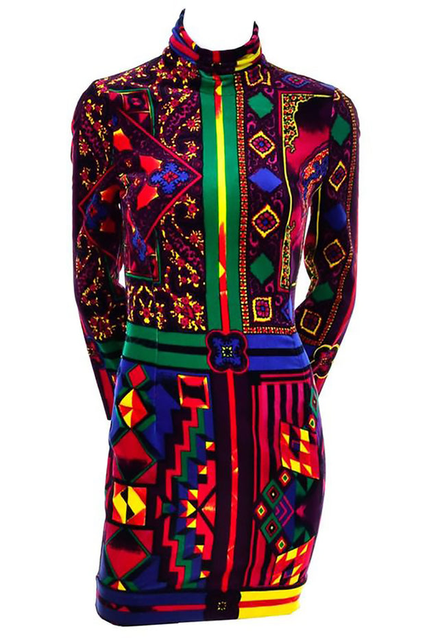 1990s vintage versace bold pattern fabric colorful bodycon dress