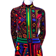 NWT 1990s Gianni Versace Vintage Dress in Bold Abstract Pattern Velvet Size 2 - Dressing Vintage