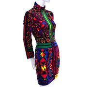1990s colorful versace patterned velvet bodycon turtleneck dress