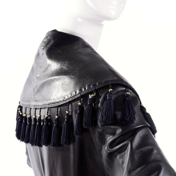 Vintage Versace black leather tassel coat