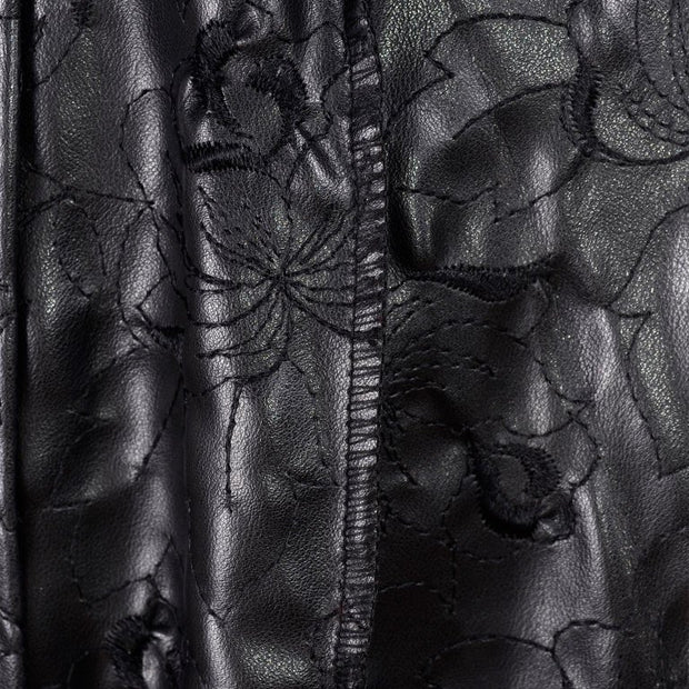 Floral embroidered leather on Gianni Versace coat
