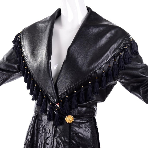 Gianni Versace leather coat w/ tassel collar