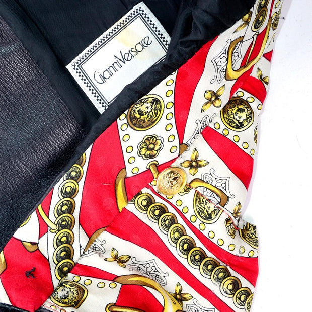 Gianni Versace silk scarf print lining on black leather coat