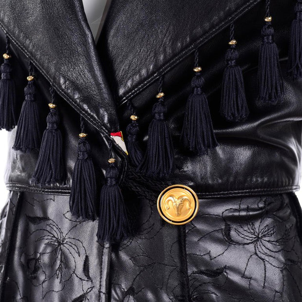 Gianni Versace long leather tassel coat