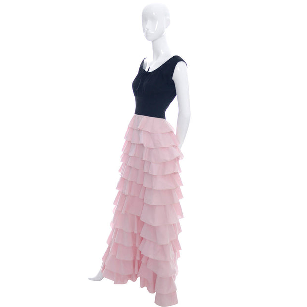 1940s Vintage Dress Gilbert Adrian Original in Pink and Black Ruffles - Dressing Vintage