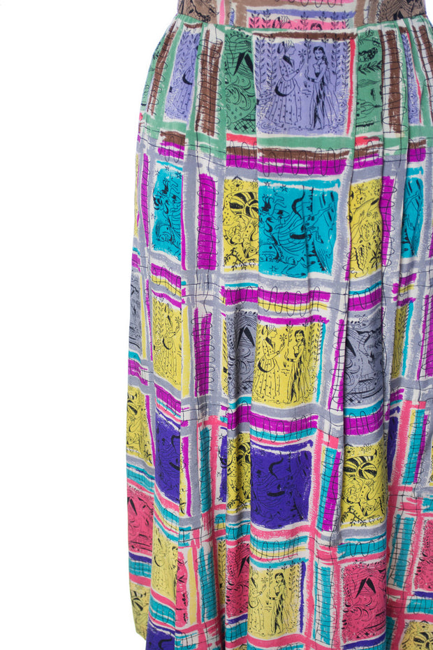 RARE Gilbert Adrian 2 piece silk dress and wrap top native novelty print SOLD - Dressing Vintage
