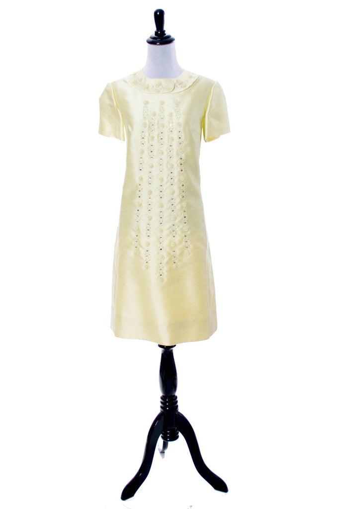 Gino Rossi 1960s beaded yellow vintage dress