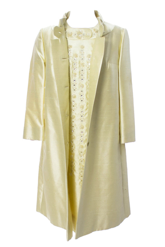 Gino Rossi vintage 1960s yellow coat and beaded dress