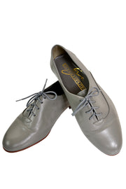 Grey leather oxfords with laces size 8