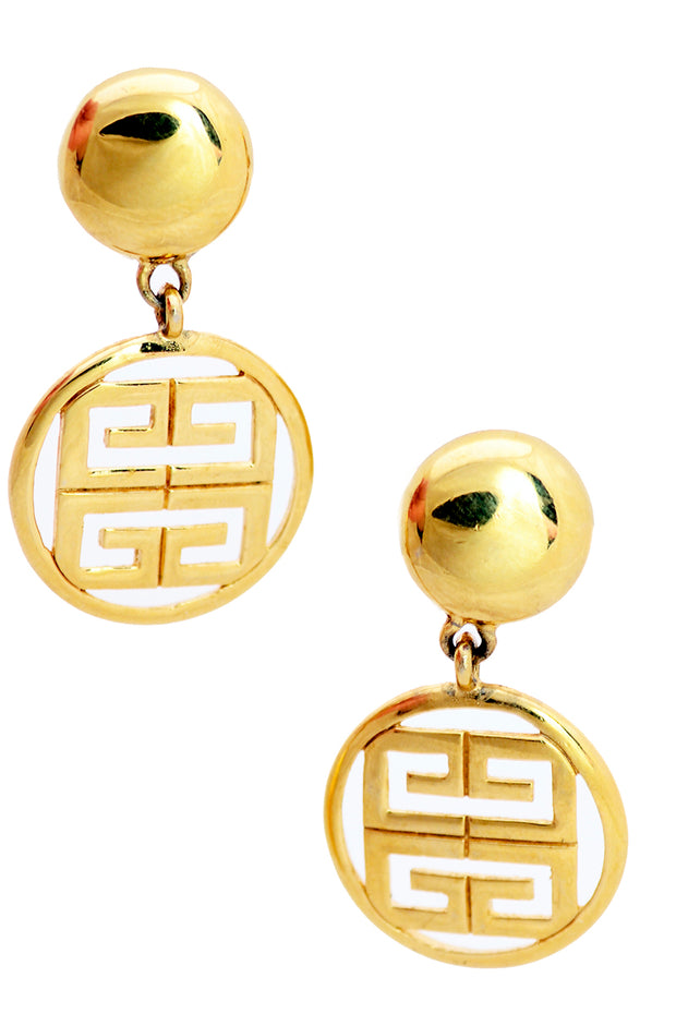 Givenchy Vintage Gold Drop Logo Earrings