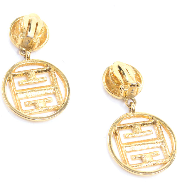 Givenchy Vintage Gold Drop Logo Earrings signed