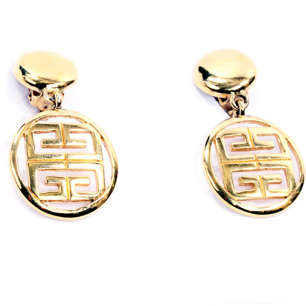 Givenchy Vintage Gold Drop Logo Earrings 1980s