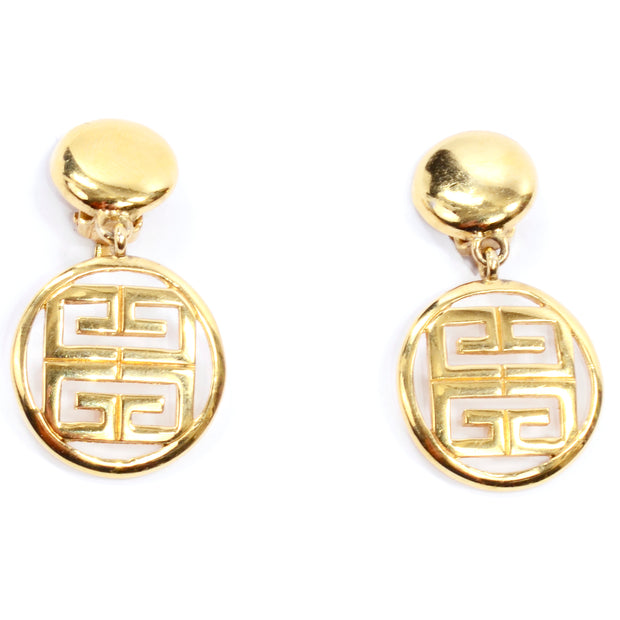 1980s Givenchy Vintage Gold Drop Logo Earrings