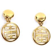Givenchy Vintage Gold Drop Logo Earrings 80s