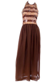 Givenchy Brown Silk Vintage Dress w Sequined Halter Top