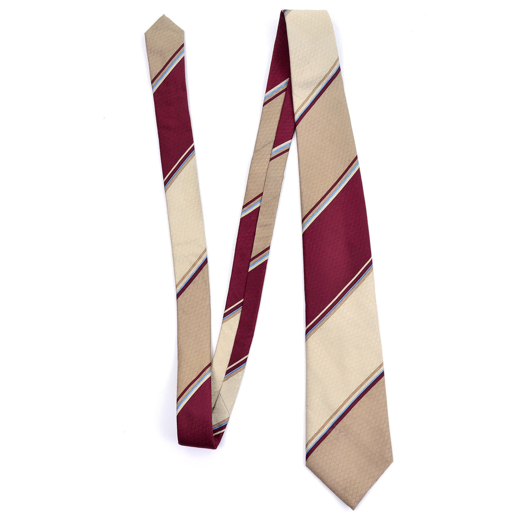 Vintage Givenchy striped tie burgundy, tan, cream