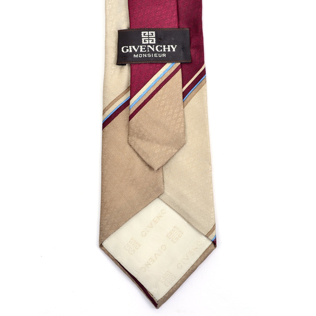 Givenchy vintage men's tan necktie with diagonal stripes and logo tipping