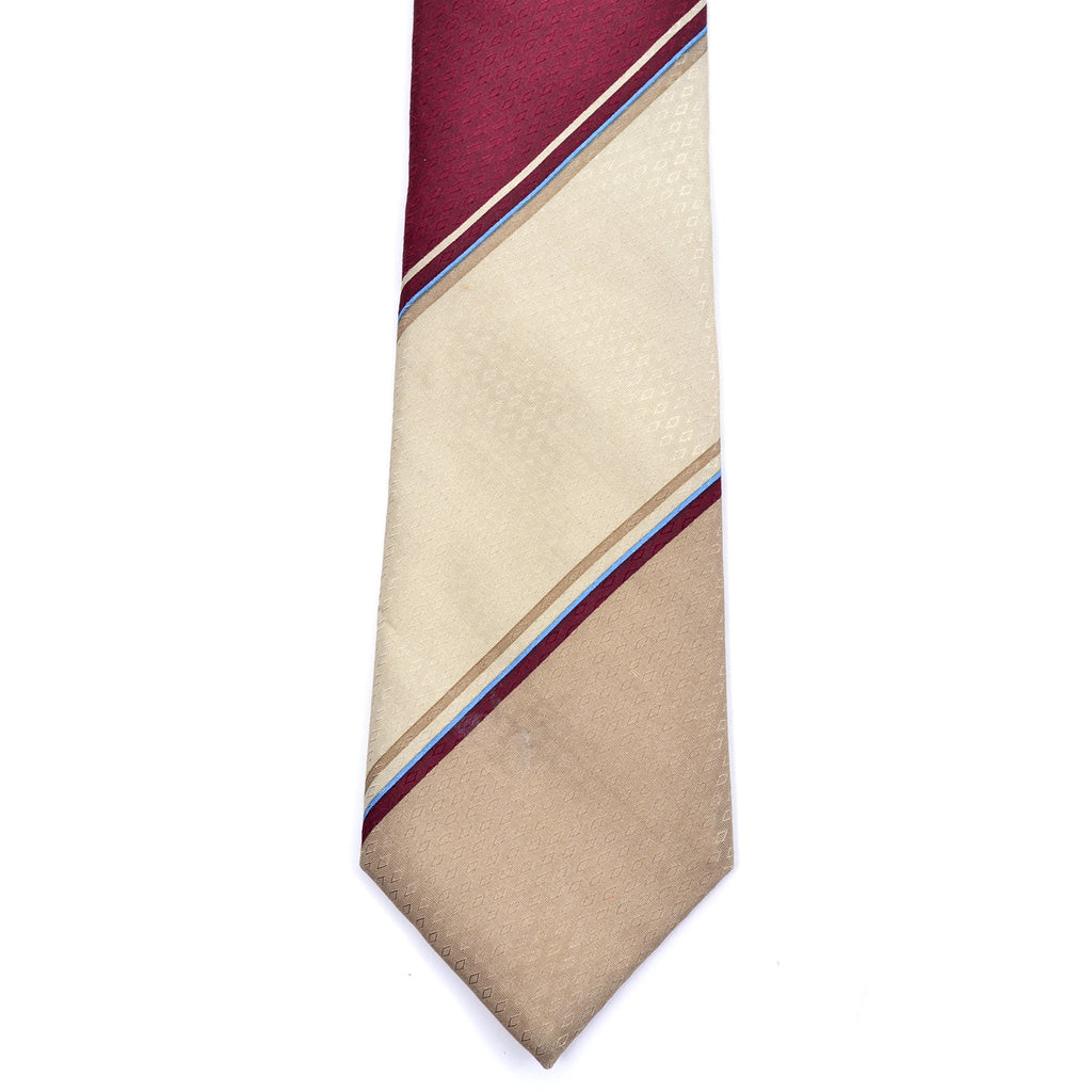 Givenchy vintage silk necktie diagonal stripes diamond relief