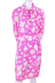 1980s Givenchy Pink & White Floral Silk Day Dress w/ Dome Buttons