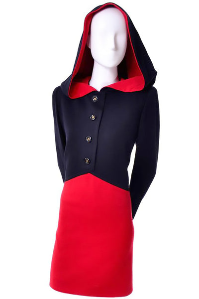 Givenchy Haute Couture Red and Black Wool Vintage Cape Dress