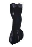 Black Velvet Evening Gown Givenchy Vintage 1980's