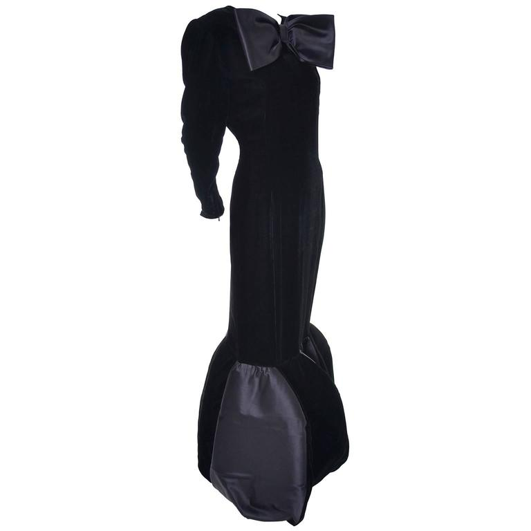 1980's Givenchy Dramatic Black Evening Gown