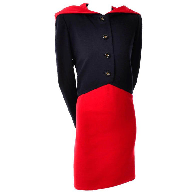 Givenchy HC 1980's Black and Red Wool Knit Dress with Hood