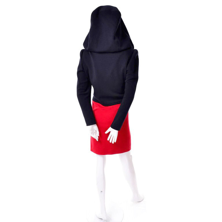 Givenchy vintage 80's Black & Red wool knit Haute Couture Dress with oversized hood