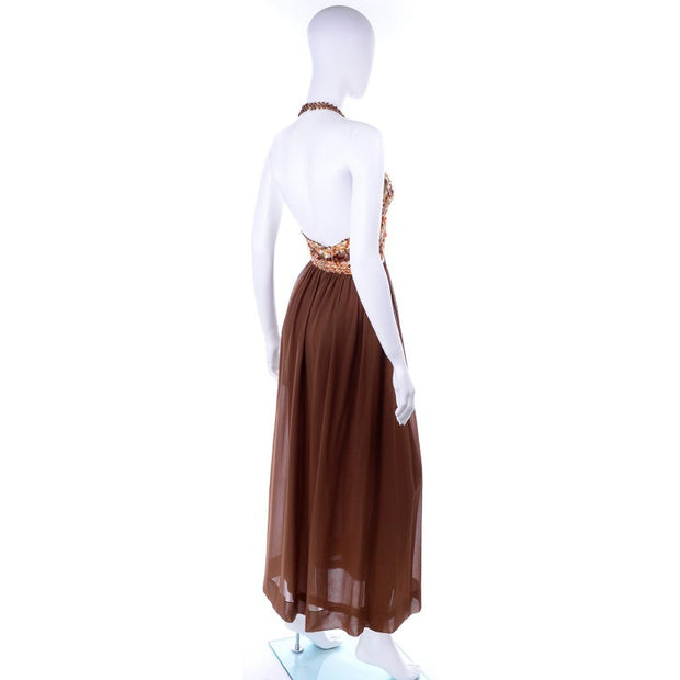 S/S 1996 Givenchy Vintage Brown Silk Halter Dress w Sequins & Beads
