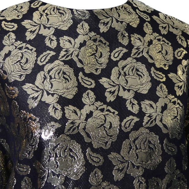 Metallic black and gold vintage blouse with roses