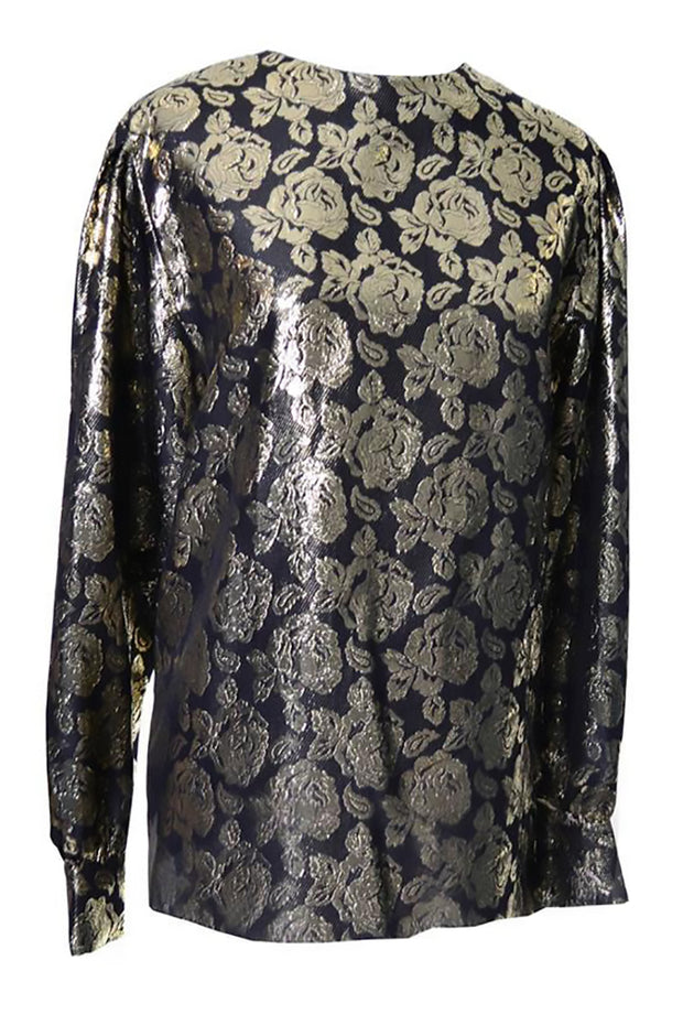 Gloria Sachs New York 1980s vintage blouse with metallic gold rose pattern