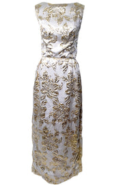 Hovland Swamson Gold Metallic Vintage Dress 1960s Evening Gown Size 8/10 - Dressing Vintage