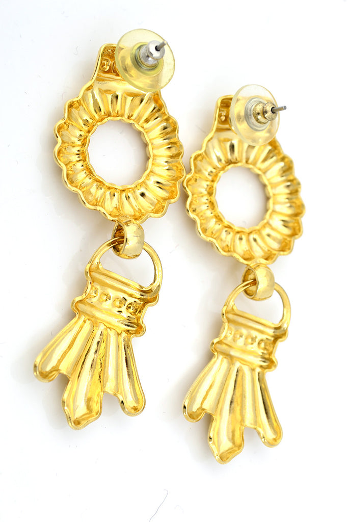 Pierced Vintage Earrings Gold Door Knocker