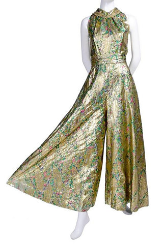 Brocade wide leg jumpsuit gold halter neck