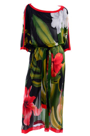 Gottex 1970s Sheer Tropical Caftan