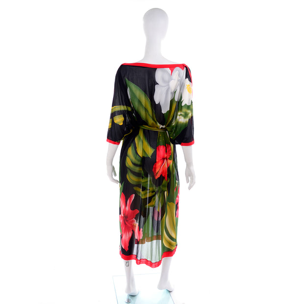 1970s Gottex Tropical Hibiscus Floral Caftan Style Semi-Sheer Dress O/S