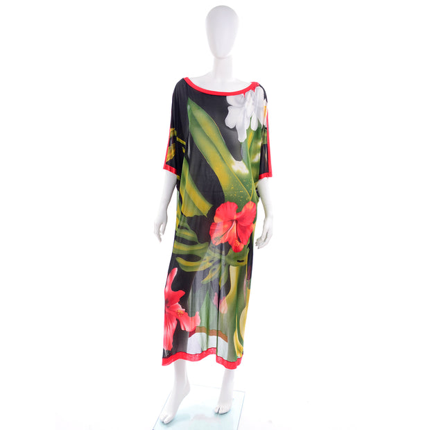 Vintage Tropical Floral Caftan Dress or Swimsuit Coverup