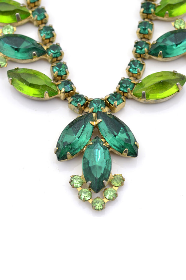 Green Crystal Vintage Necklace Earrings Demi Parure