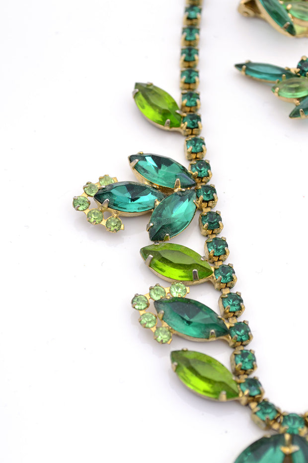 Green Crystal Vintage Necklace Earrings Clip