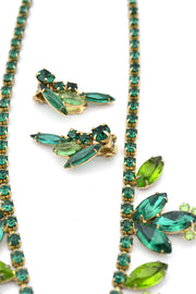 Green Crystal Vintage Necklace Earrings Set