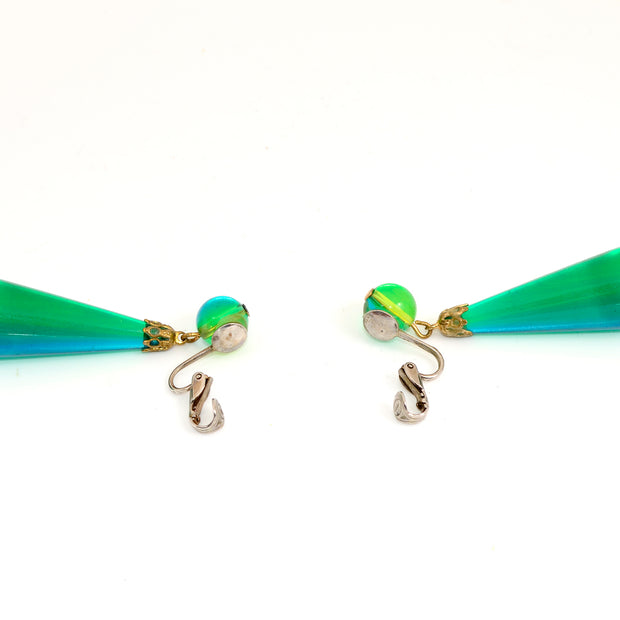 1960s Green & Blue Lucite Teardrop Earrings