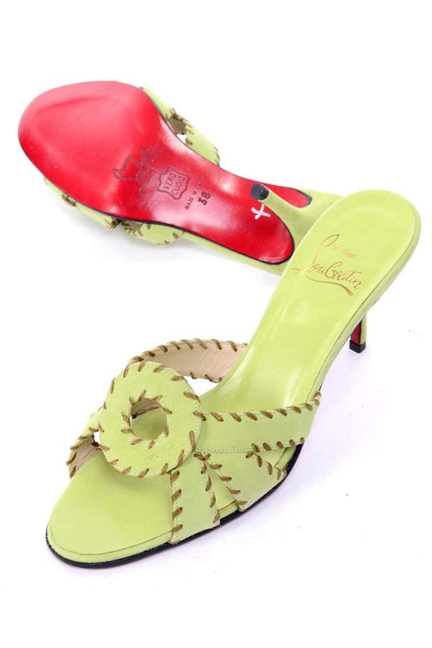 Christian Louboutin Lime Green Open Toe size 8 Sandal Heels w Topstitching