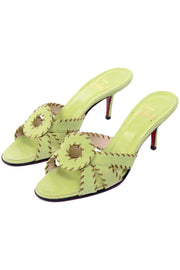Christian Louboutin Lime Green Open Toe Sandal Heels w Topstitching