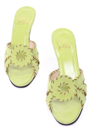 Size 8 Christian Louboutin Lime Green Open Toe Sandal Heels w Topstitching