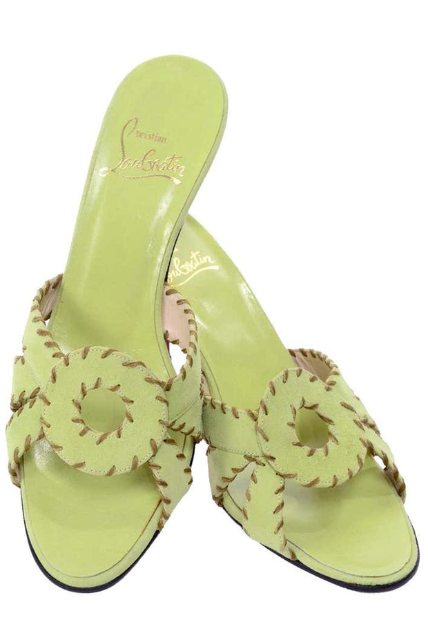 Christian Louboutin Lime Green Open Toe Sandal Heels w Topstitching 8