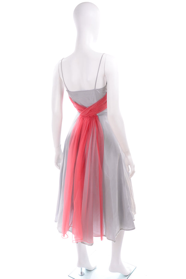 1960s Grey Vintage Party Dress w/ Pink Tulle Sash