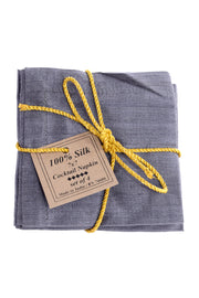 Grey Raw Silk Cocktail Napkins Set of 4 in Original Packaging