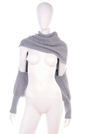 Grey Knit Shrug Scarf with Cuffs